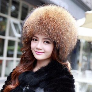 Genuine-Winter-Women-Pelt-Raccoon-Fur-Hat-Lady-Cap-Headgear-Outdoor-Tuque-Beanie