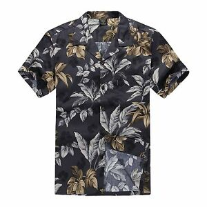 Men-Hawaiian-Shirt-Aloha-Cruise-Tropical-Luau-Beach-Party-Leaf-Grey-White-045127