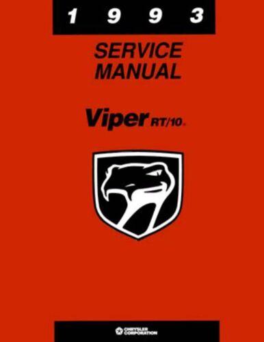 1993 Dodge Viper Shop Service Repair Manual Book Engine Drivetrain Electrical
