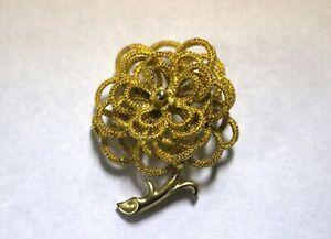 USNER-Vintage-Gold-Tone-Flower-Floral-Filagree-Brooch-Pin-Signed