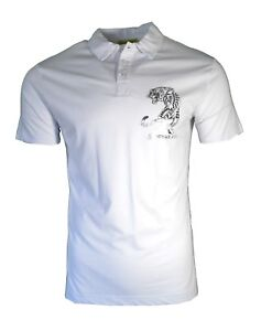 8f1742c1c BNWT VERSACE JEANS WHITE SILVER FOIL TIGER CHEST LOGO THIN POLO ...