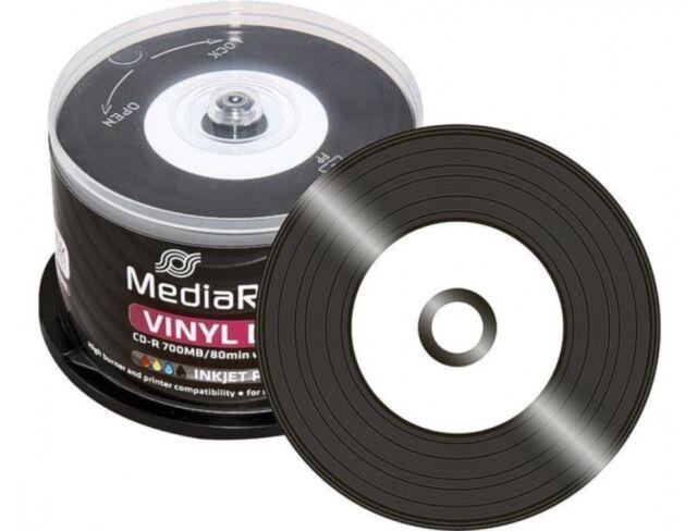50 x Mediarange Black Bottom Vinyl CD-R blank discs White Printable 52x 700MB