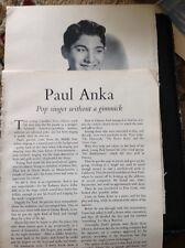 K3-7 Ephemera 1950s Film Article Paul Anka Pop Singer With A Gimmick