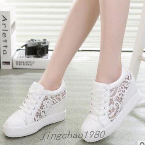 Ladies Cross Strap Women's Sneakers Hidden Wedge Heels Casual Charm shoes Size