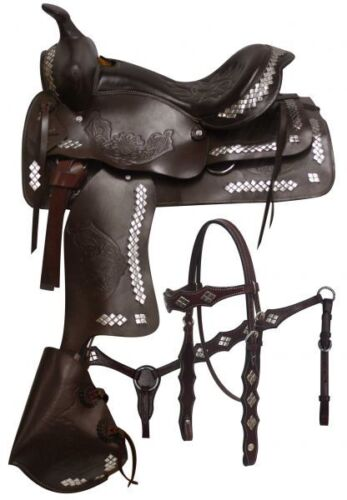 "Double T Parade Saddle SET Floral Tooling Tapedero Style Black Brown 16/"" 17/"" NEW"