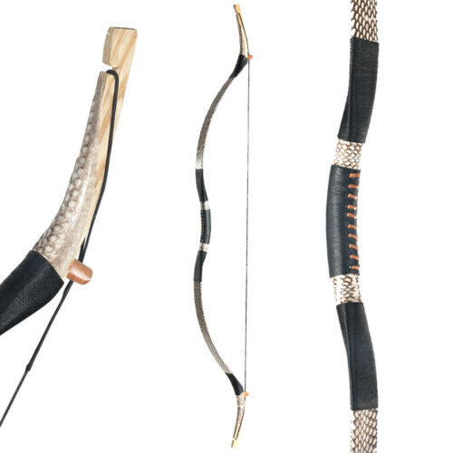 """35-70lbs 55/"""" Archery Recurve Bow Snakeskin Traditional Hunting Longbow Target"""