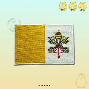 Vatican City National Flag Embroidered Iron On Sew On Patch Badge For Clothes