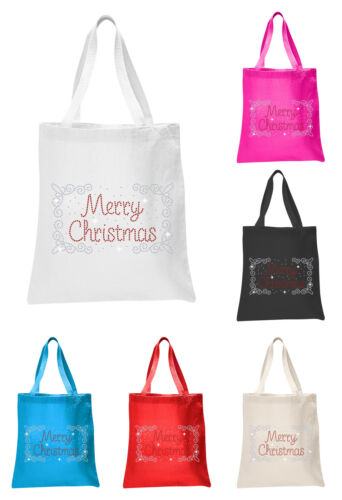 Crystal Merry Christmas Border Tote Bags X/'mas Favour Rhinestone party gift bags