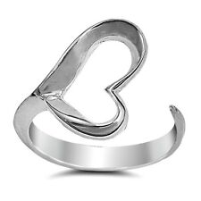 .925 Sterling Silver Ring size 8 Open Heart Thumb Midi Knuckle Ladies New p65