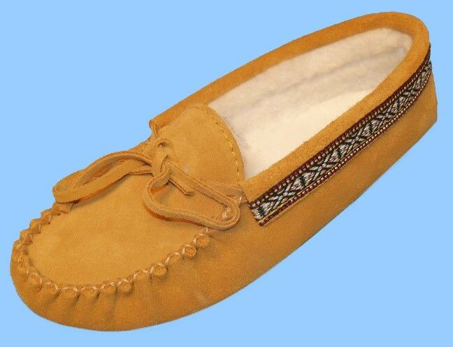New Donna size 8 TAN SUEDE LEATHER SLIPPERS-Scarpe-LOAFERS-MOCCASIN-NATIVE BRAID