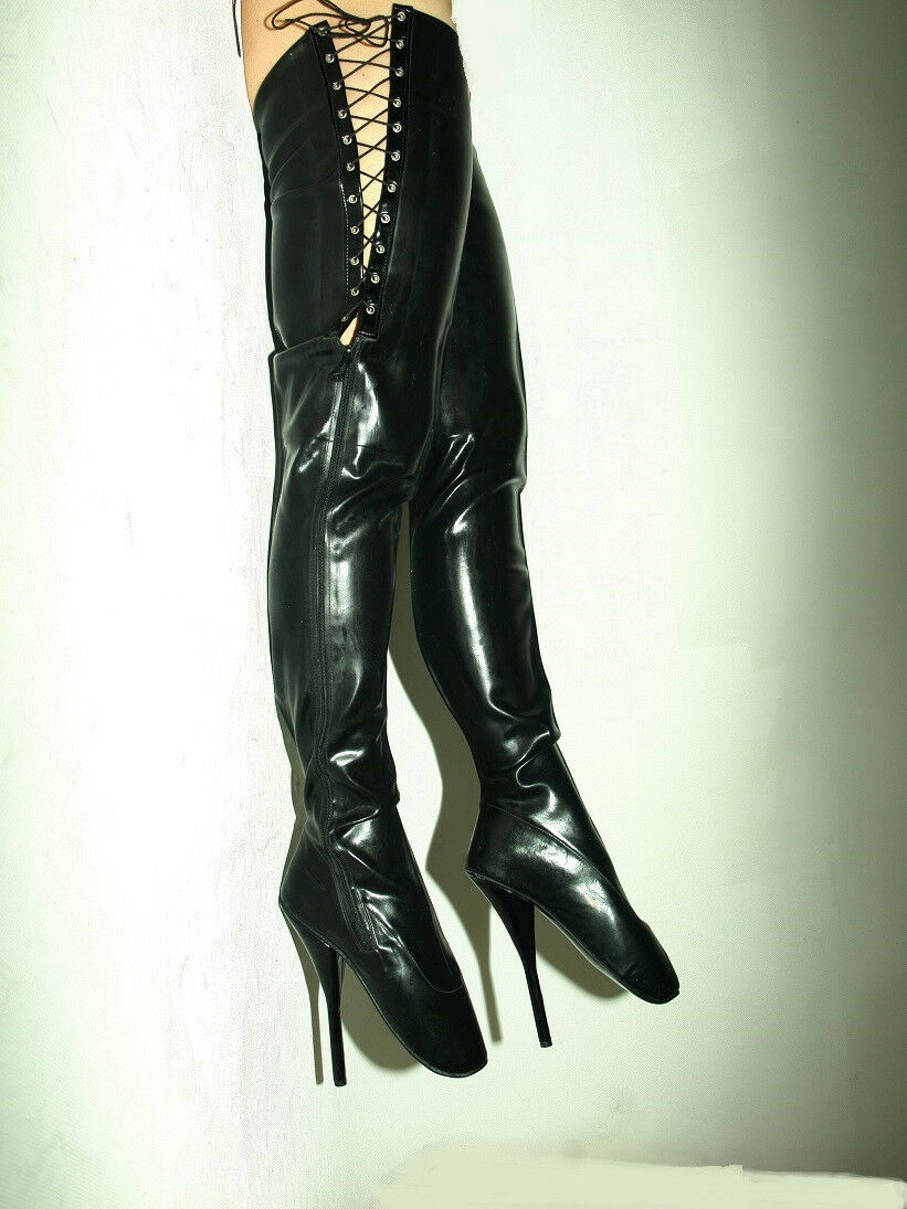 BLACK OR RED LATEX RUBBER BALLET BOOTS SIZE 6-16 HEELS-8,5