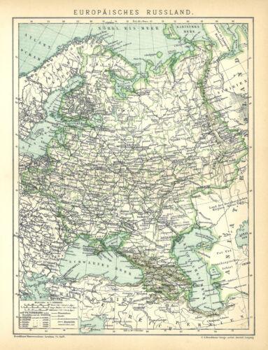 B14 Schwarzes Meer Norwegen Eismeer Alte Landkarte 1895 Europäisches Russland