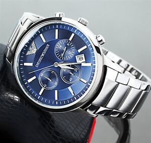 NEW-GENUINE-EMPORIO-ARMANI-MENS-AR2448-WATCH-BLUE-DIAL-STAINLESS-STEEL-UK