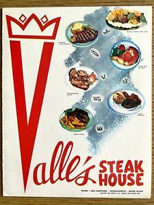 1960s VALLE'S STEAK HOUSE vintage restaurant menu EAST COAST, NEW ENGLAND CHAIN