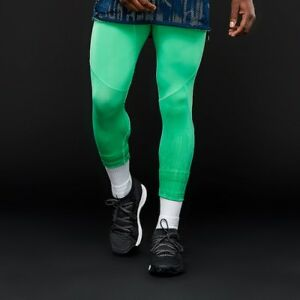 Adidas-Performance-Elettrico-Collant-Uomo-Verde-Nera-Compressione-Pants-CE6992