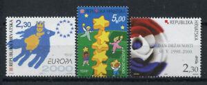 La-Croatie-2000-Mi-544-546-cachet-100-Europe-CEPT-drapeau