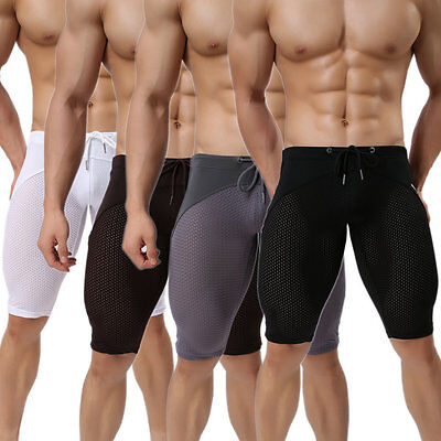 Mens Sexy Mesh Sports Shorts Fitness Swim Trunks Running Yoga Fifth Pants XL L M