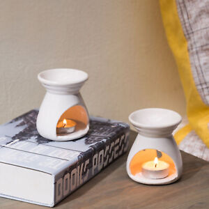 MyGift Set of 2 White Ceramic Aromatherapy Essential Oil Burner Candle Holder
