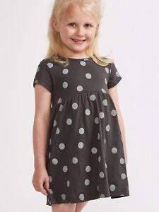 Girls-Sugar-Squad-Charcoal-Spotty-Dress-age-2-8-New