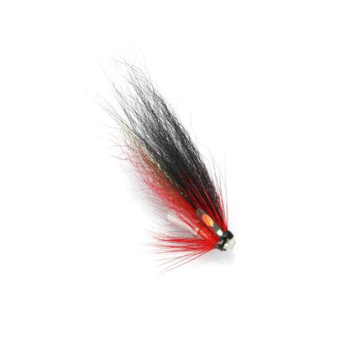 8-pack Black Red Loop Bottle Tube Fly Salmon Sea Trout Flies