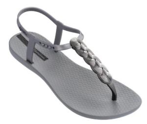 a9c44de02325 Ipanema Women`s Flip Flops Braid Sandal Gray and Silver Brazilian ...