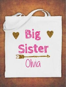 Image Is Loading Personalised Big Sister Birthday Gift Kids Tote Bag