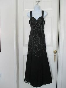 Mon-Cheri-Bridal-Sequin-Beaded-Black-Dress-Size-8-Stunning