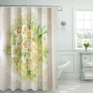 Image Is Loading Fancy Garden Rose Fabric Shower Curtain 70 034