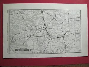 Details about RARE ORIGINAL 1904 SOUTHERN INDIANA RAILROAD SYSTEM MAP  STATIONS HISTORY