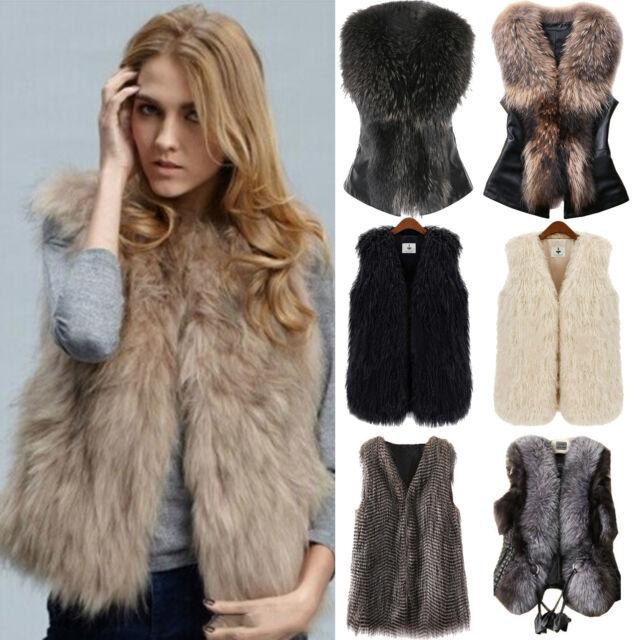 Women Faux Fur Sleeveless Coat Winter Jacket Vest Gilet Slim Outwear Waistcoat