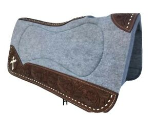"""Western Grey Cross Felt Pad with Leather Lining And Carving 32"""" x 32"""": 1"""" Thick"""