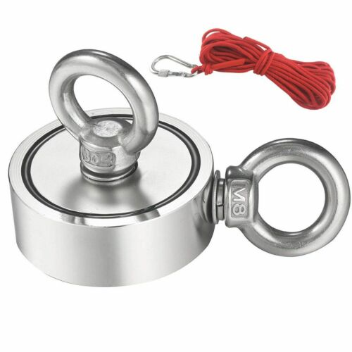 Double Sided Super Strong Neodymium Fishing Magnet 400//600//800LB Pulling Force