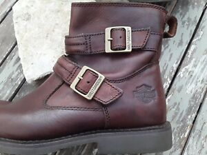 Harley Davidson Dennis Motorcycle Boot Mens 10M Brown Leather Buckle Zipper