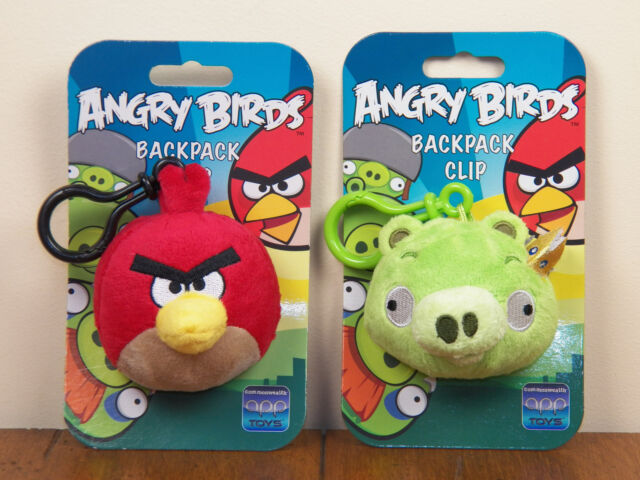 Angry Birds 2-LOT Red Bird & King Pig Plush Bookbag Backpack Clip Keychain  *NEW*