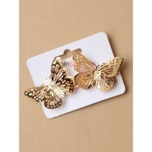 NEW 9cm Gold gilt crystal metal flower bow barrette hair clip womens fashion