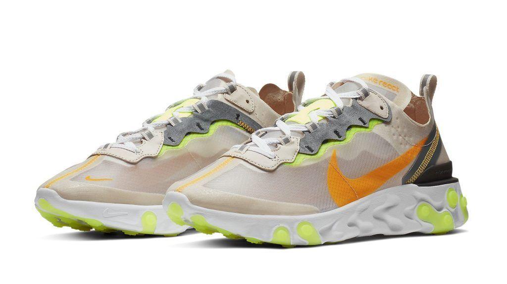 SHIP NOW Nike React Element 87 Orewood Brown 4-13 Laser orange Volt AQ1090-101