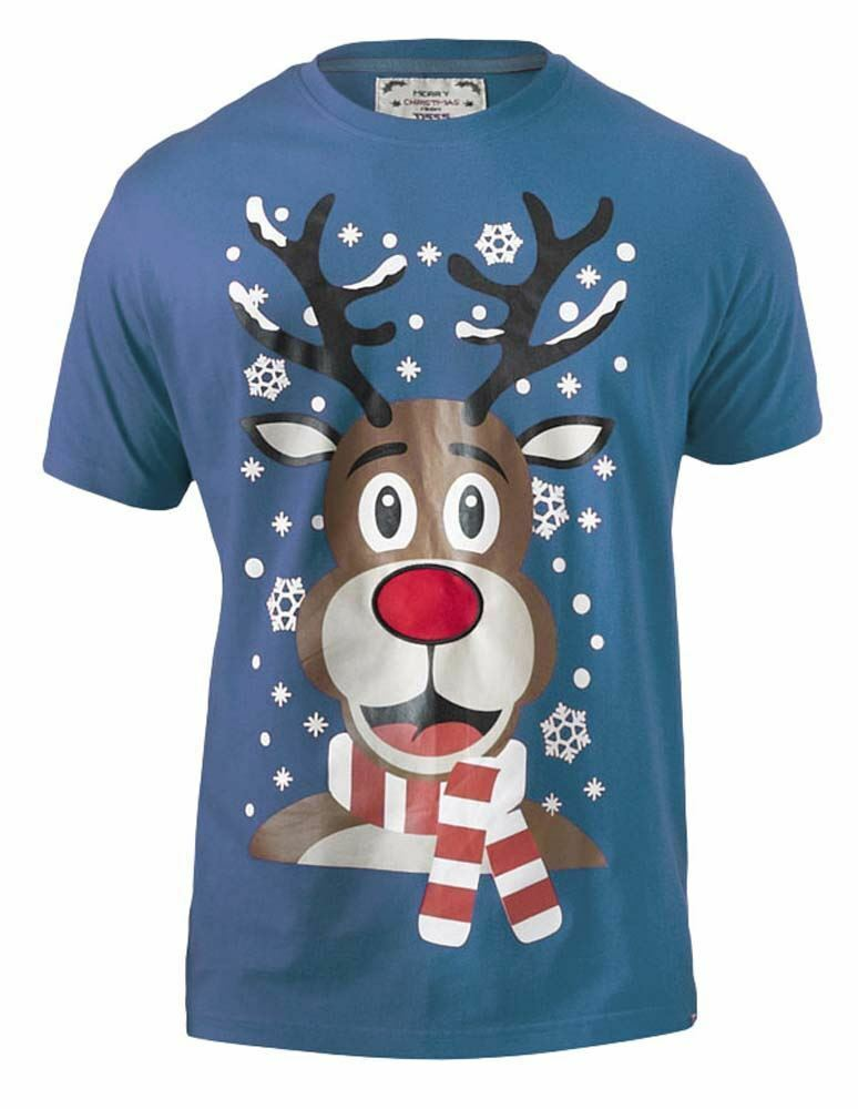 D555 Mens Extra Tall Rudolph Printed Christmas T-shirt With Lights And Music