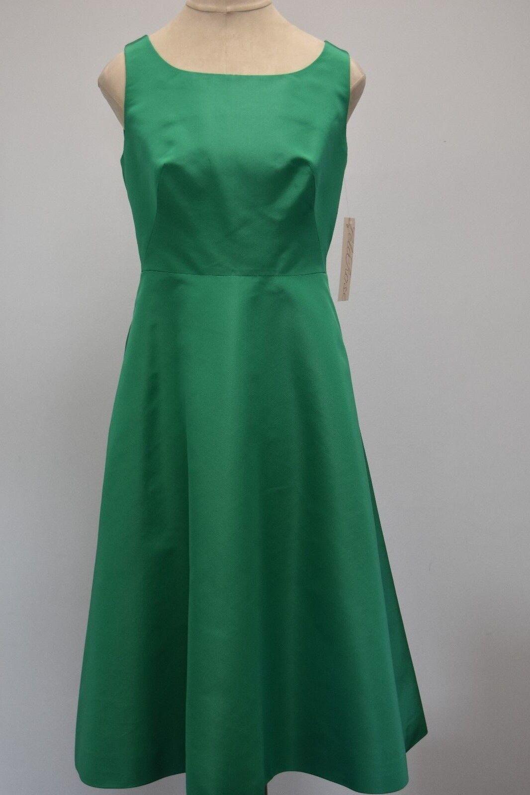 New 18 Lela rosa Seta Faille Fit And Flare Gonna a Pieghe Abito verde Smeraldo 4