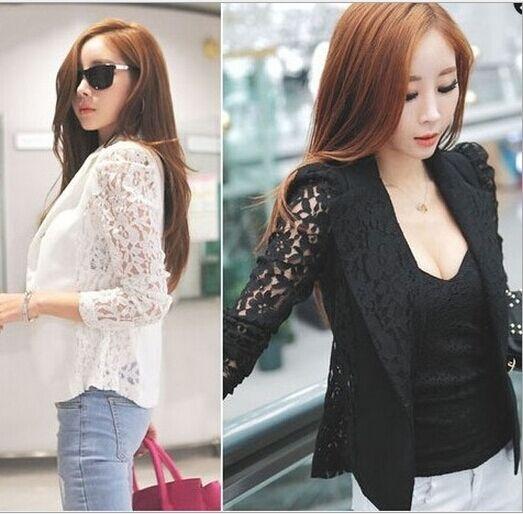 Women Long Sleeve Lace Crochet Lapel Blazer Short Jacket Suit Blouse Coat Tops