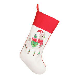 Llama Christmas Stocking.Details About Luxury Festive Llama Print Christmas Stocking Xmas Red Fabric Sock Boot