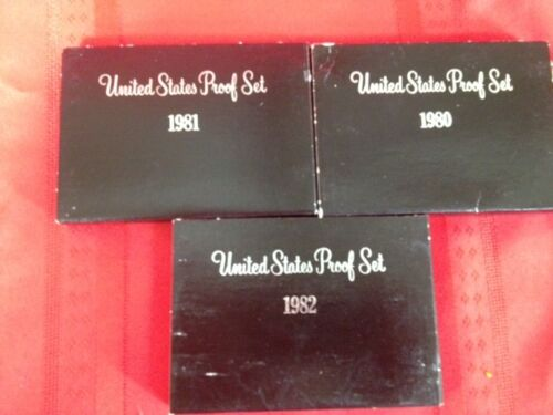 US Mint Proof Coin Set 1980,1981 1982  All 3 sets for one Price.