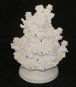 Details About Christmas Snowman Christmas Tree With Lights Ceramic Bisque Ready To Paint