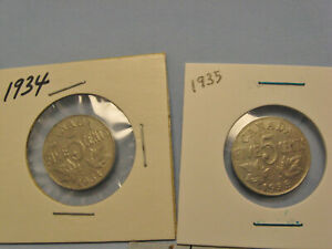 Lot-of-2-Canada-5-cent-nickel-coins-1934-1935