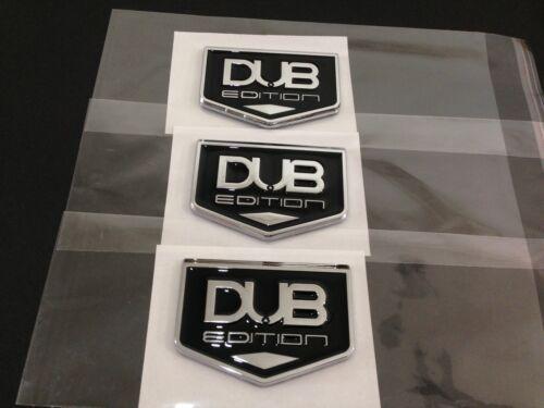 NEW DUB EDITION Badge Emblem 3M Stick On Hood Fender Trunk Chrome Black 3pcs