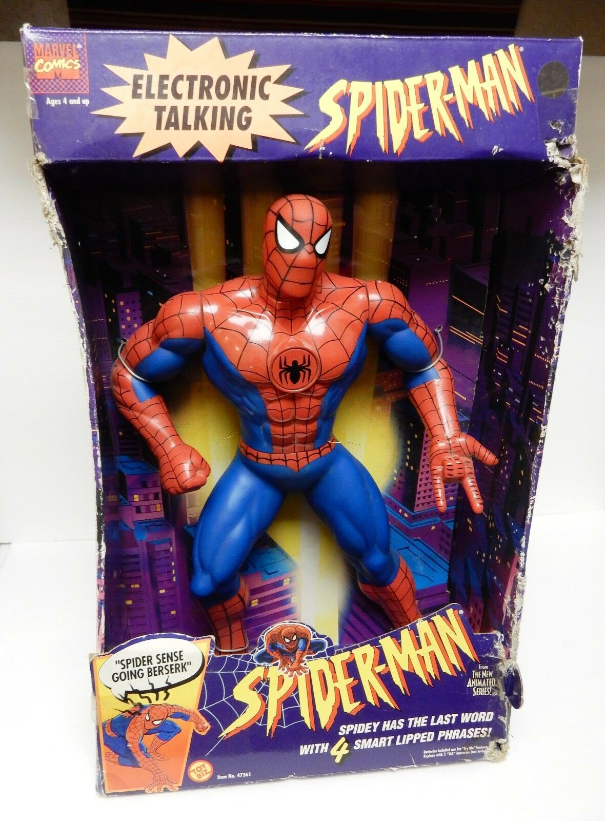 SPIDERMAN ELECTRONIC Figure Doll TALKING 1994 TOY BIZ 47361 16  VTG NEW