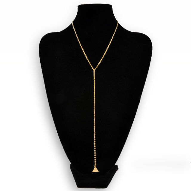 Fashion Womens Jewerly Bar Tassel Triangle Dangle Pendant Chain Necklace Gold