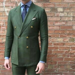 Army-Green-Groom-Wedding-Tuxedo-Double-Breasted-Linen-Formal-Prom-Party-Men-Suit
