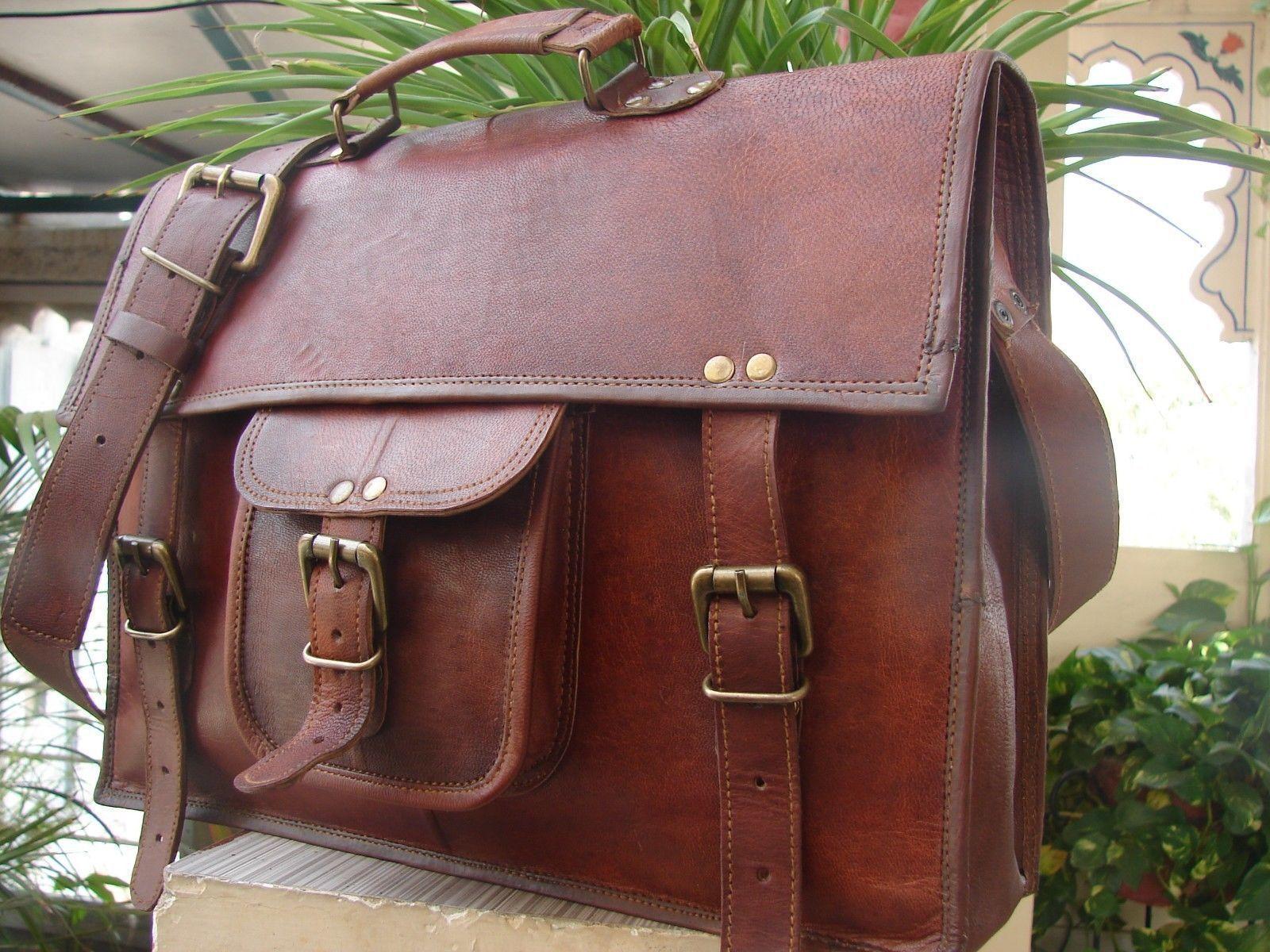 Vintage Leder Umhängetasche Aktentasche Laptoptasche Messenger Notebook        Große Auswahl  52ccbb