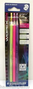 STAEDTLER WOPEX GRAPHITE PENCILS - neon colours pack of 3 HB pencils