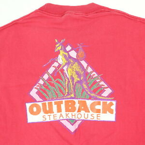 Vtg-90s-Outback-Steakhouse-T-Shirt-Faded-Red-Distress-USA-Single-Stitch-Grunge